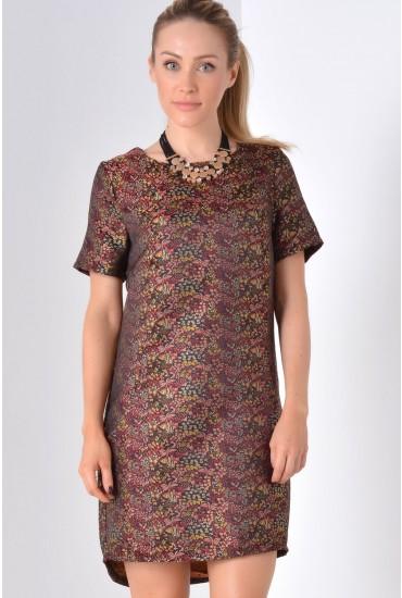 Nicola Brocade Shift Dress in Brown