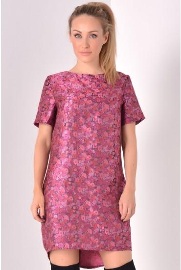Gillian Brocade Shift Dress in Pink