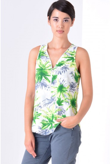 Alice Floral Top in Green and White