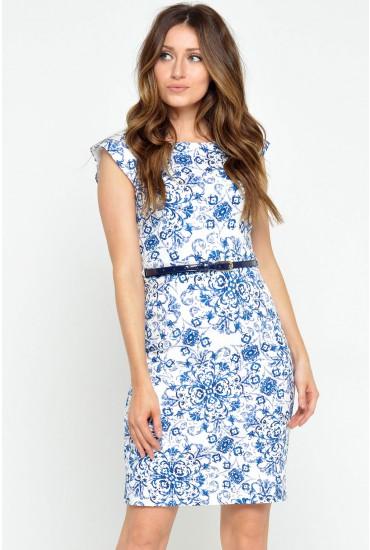 Helga Floral Belted Midi Dress