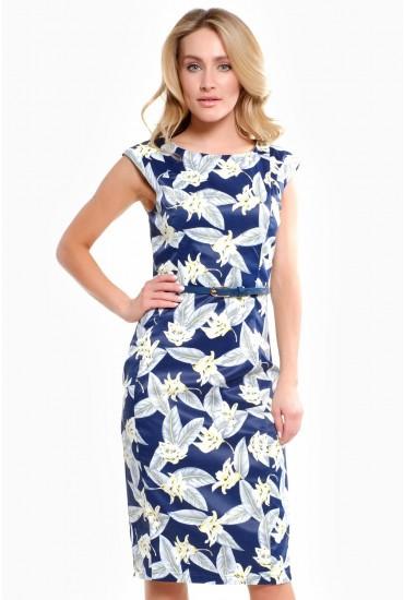 Anika Print Belted Midi Dress in Navy