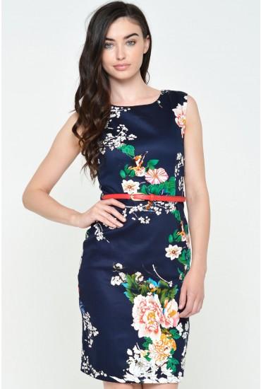 Sandra Floral Belted Midi Dress