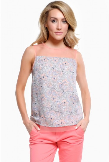 Lucy Sleeveless Sheer Panel Top in Peach