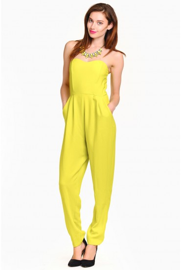 Alice Bandeau Jumpsuit in Lime