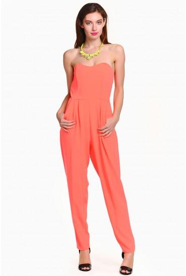 Alice Bandeau Jumpsuit in Neon Orange