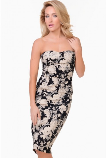 Mable Floral Bandeau Dress in Black
