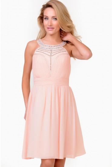 Emily Embellished Chiffon Dress in Peach