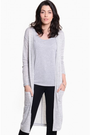 Dawn Long and Light Knit Carigan in Light Grey