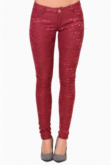 Bethany Lace Skinny Trousers in Burgundy