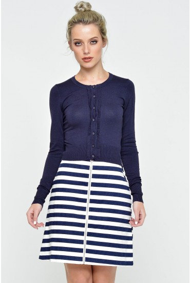 Idie Scalloped Placket Cardigan in Navy