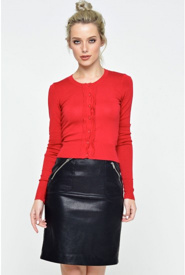 Idie Scalloped Placket Cardigan in Red