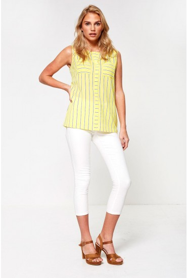 Imala Sleeveless Top in Yellow Stripe