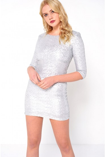Jess Sequin Bodycon Dress in Silver