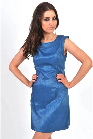 Jamila Shimmering Metallic Shift Dress in Teal