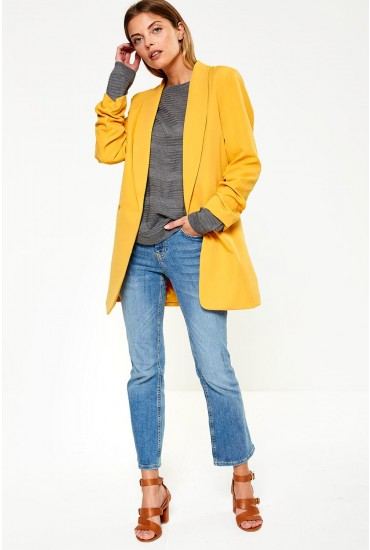 Dayo Ruched Sleeve Long Blazer in Mustard