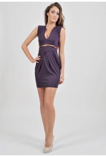 Paula Tailored V Neck Dress in Purple