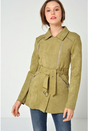Talia L/S Suedette  Belted Jacket in Khaki