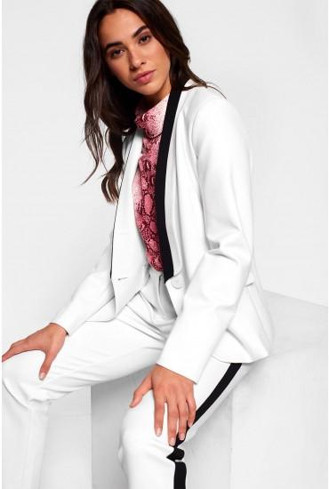 Jackie Tuxedo Suit Blazer in Cream