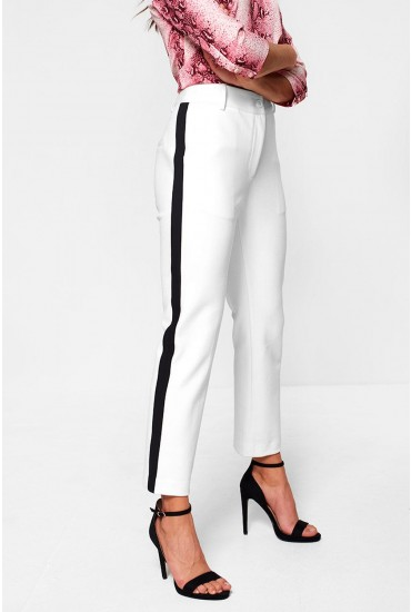 Jackie Tuxedo Suit Trousers in Cream