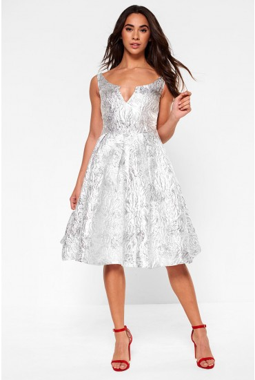Noelle Jacquard Skater Dress in Silver