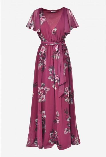 Jaden Occasion Maxi Dress in Magenta