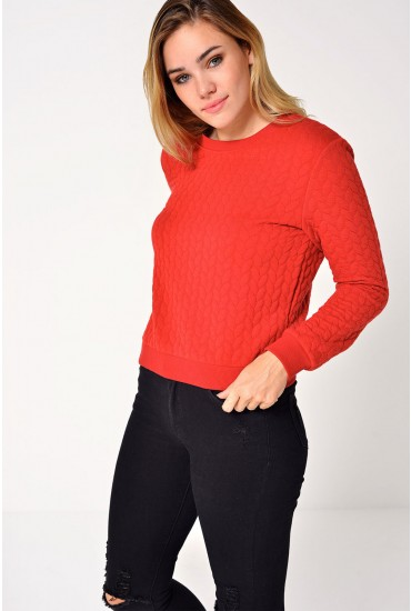 Jane L/S Fitted Sweater in Red