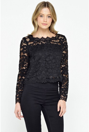 Mandy Scalloped Lace Top in Black