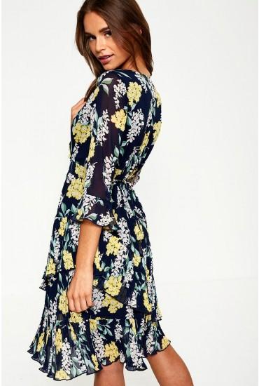 Janette Floral Print Dress in Navy
