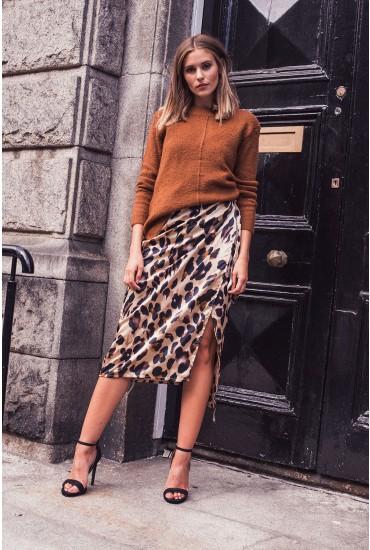 Jaxon Leopard Print Wrap Midi Skirt