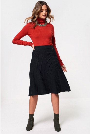 Jaylie Lurex Stirpe Knit Skirt in  Dark green