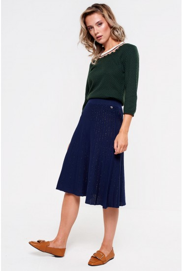 Jaylie Lurex Stripe Knit Skirt in Navy