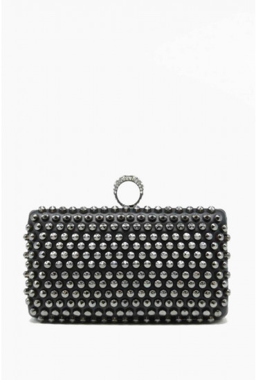 Jayne Studded Clutch Bag in Black