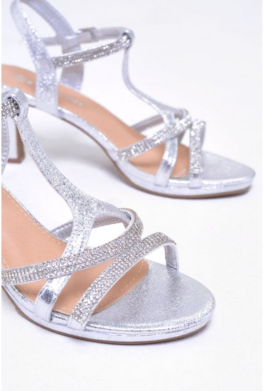 Pearl  Embellished Metallic Block Kitten Heel in Silver