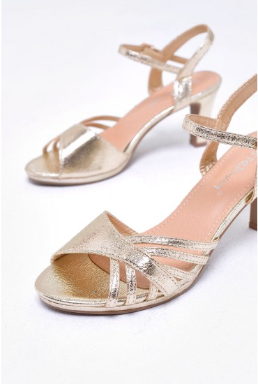 Pearl Metallic Block Kitten Heel in Gold