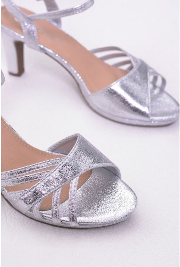 Pearl Metallic Block Kitten Heel in Silver