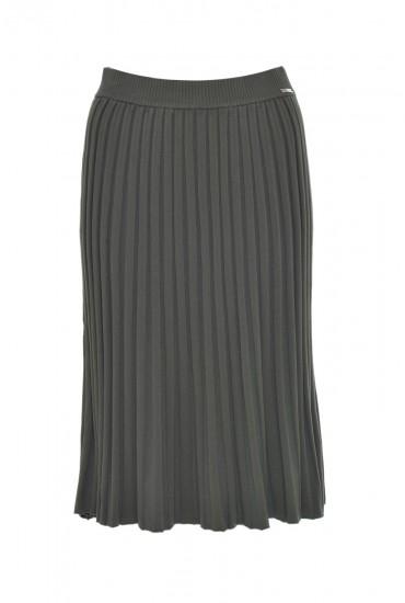 Rella Pleat Knit Skirt in Khaki