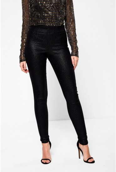 Paro High Waist Jeggings in Black Glitter
