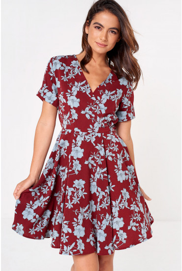 Jelena Floral Print A Line Dress in Burgundy