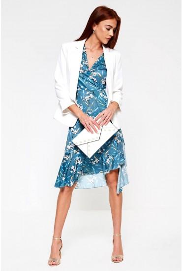 Jelena Floral Print Midi Dress in Teal