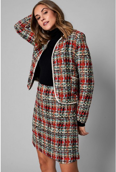 Harris Cropped Tweed Blazer in Red