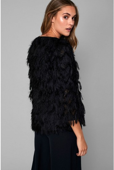 Camilla Fringe Occasion Cardigan in Black