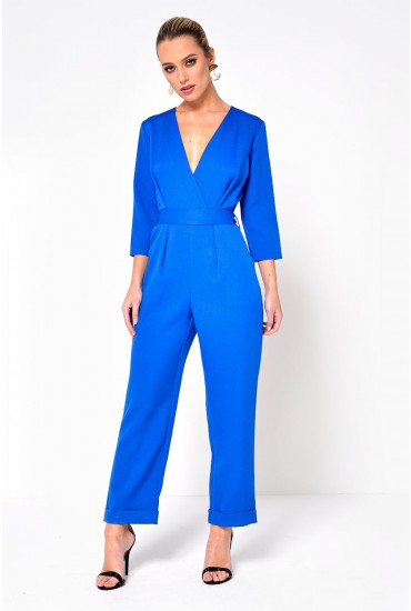 Pipa Cross Over Jumpsuit in Blue