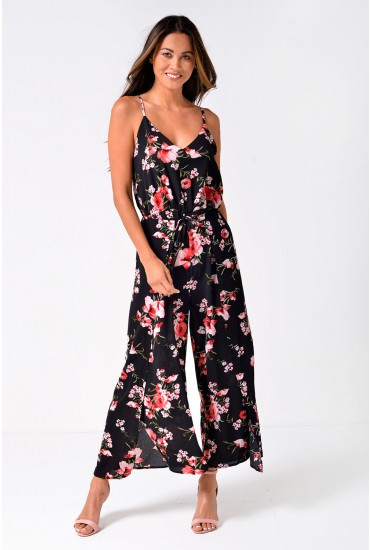 Cathy Floral Culotte Jumpsuit in Black