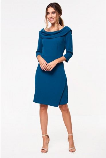 Judy Tailored Midi Dress with Cowl Neckline in Teal