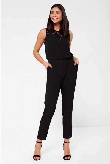 Fabio Jumpsuit with Lace Insert in Black