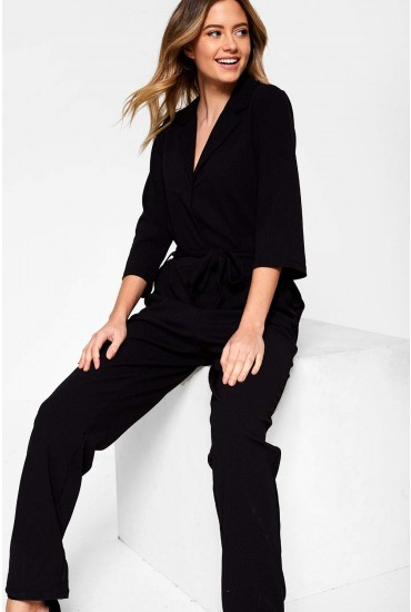 Cammy Jumpsuit with Self Belt in Black