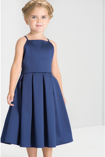 Abigail Kids Tie-Back Satin Occasion Dress in Navy