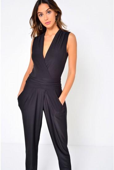 Hayley Deep V Jumpsuit in Black
