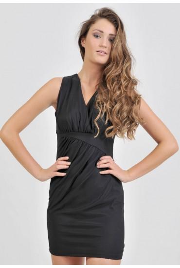 Pauline Gathered Detail Dress in Black