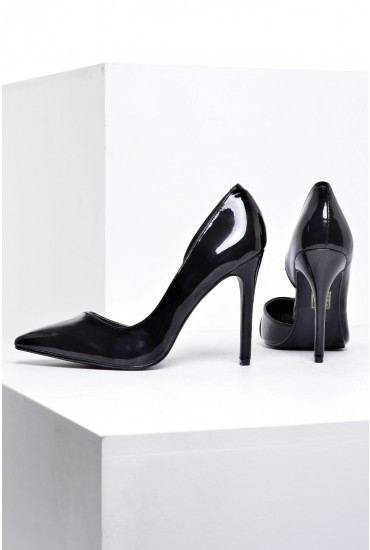 Louise Cut Out Side Court Shoes in Black